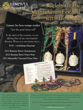 Benovia Winery Spring 2015 Mardi Gras Gift Box Email Flyer