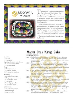image: Benovia Winery Spring 2015 King Cake Recipe Card (front and back)