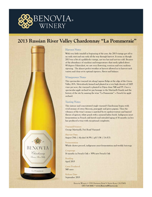 image: Benovia Winery Spring 2015 Chardonnay Product Sheet