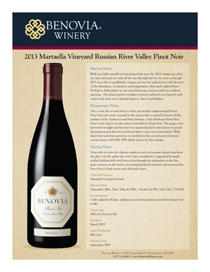 image: Benovia Winery Spring 2015 Pinot Noir Product Sheet