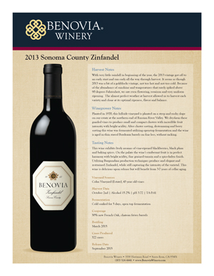 image: Benovia Winery Spring 2015 Zinfandel Product Sheet
