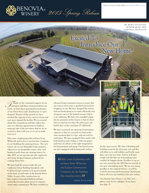 Benovia Winery Spring 2015 Newsletter Page One