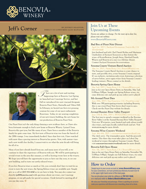 image: Benovia Winery Spring 2015 Newsletter Page Two