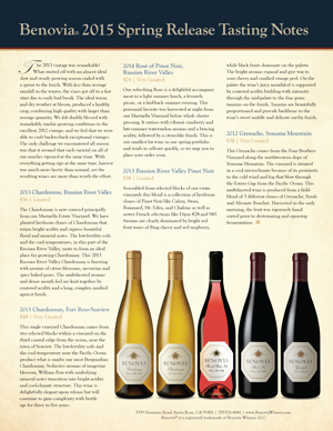 image: Benovia Winery Spring 2015 Newsletter Page Three