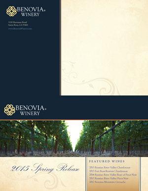 image: Benovia Winery Spring 2015 Newsletter Mailer Outside
