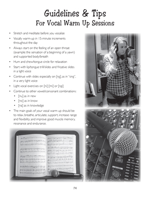 image: Learn Today, Play Tomorrow® Guidelines and Tips                                              For Vocal Warm Up Sessions, Page Seventy Four