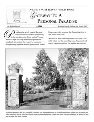 image: News From Haverfield Park: Gateway to a Personal Paradise Page One