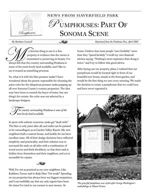 image: News From Haverfield Park: Pumphouses: Part of Sonoma Scene Page One