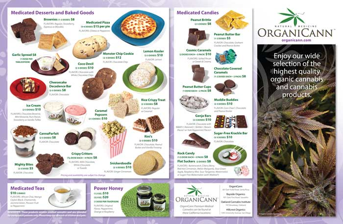 image: OrganiCann™ 2010 Medicinal Cannabis Quad-Fold Products Menu Outside