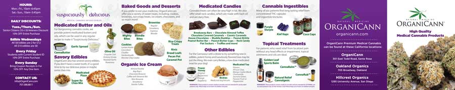 image: OrganiCann™ 2011 Medicinal Cannabis 7-Fold Products Mini-Menu Outside