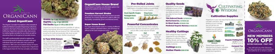 image: OrganiCann™ 2011 Medicinal Cannabis 7-Fold Products Mini-Menu Inside