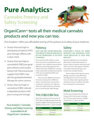 image: OrganiCann™ & Pure Analytics™ Medicinal Cannabis Potency and Safety Screening Poster Back