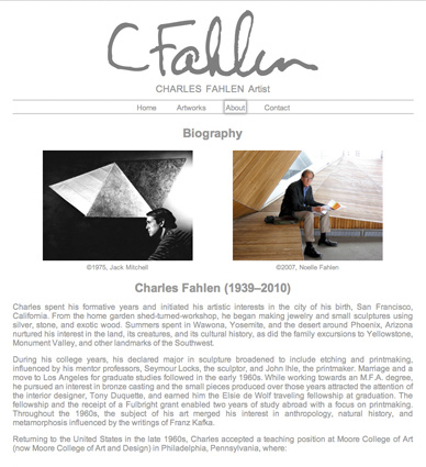image: Charles Fahlen Web Site Biography Page